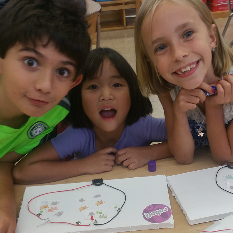Kids with circuit project